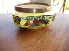 UNUSUAL ART DECO YELLOW LUSTRE POT WITH SILVER PLATED RIM BOLD FRUIT AVON 464
